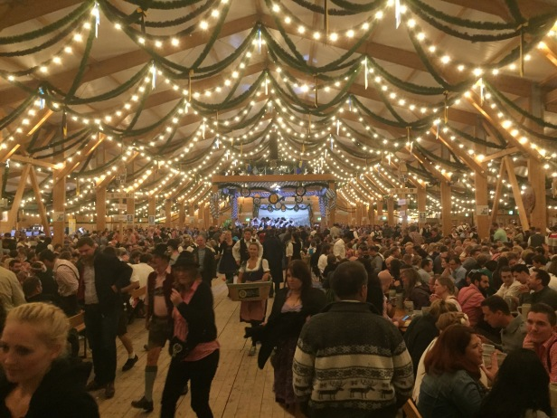 The inside of Herkasperl tent in the Oide Wiesn, which is the more traditional section of Oktoberfest. Fewer tourists, more locals.