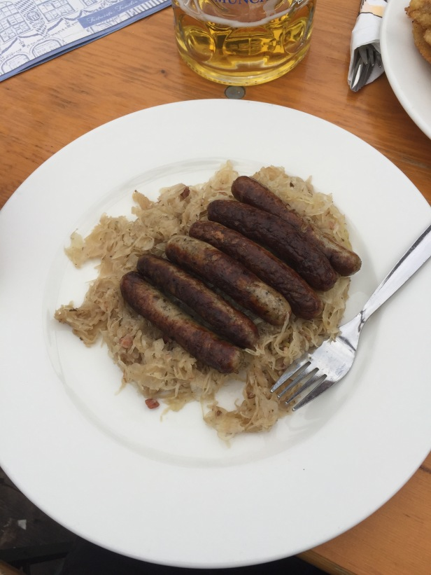 Oktoberfest had lots of good food. These weisswurst sausages were pretty tasty, but this particular dish was notable for me because this is the best sauerkraut I've ever had. It had bacon in it.