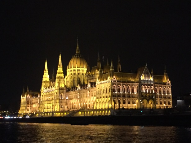 The Hungarian Parliament building from a boat on the Danube.