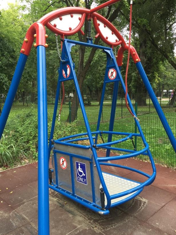 Budapest (Margaret Island): This contraption is for putting a wheelchair in a swing. Disabilities shouldn't prevent anyone from enjoying a swing at the playground.