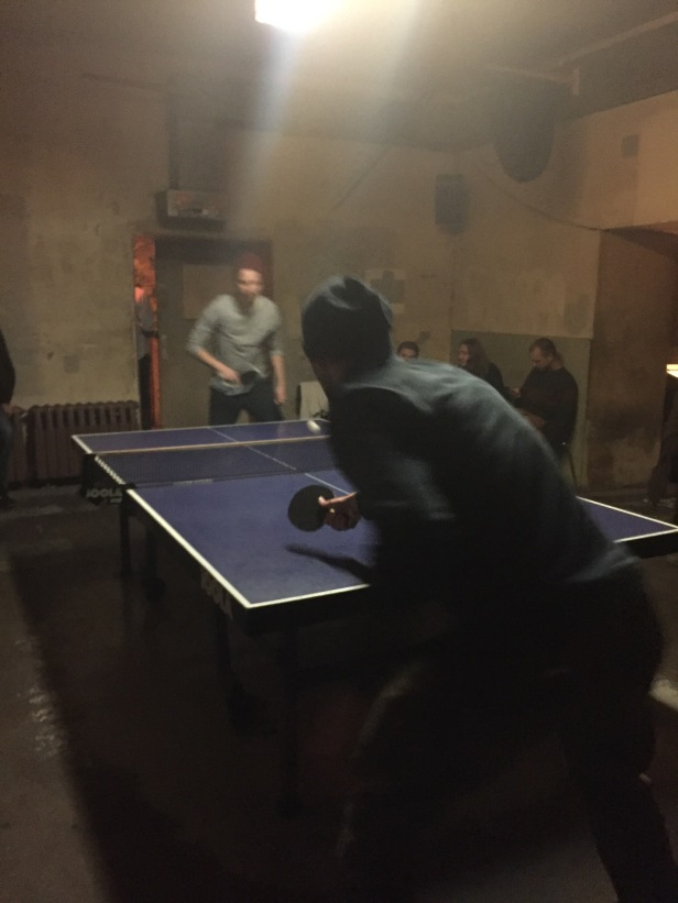 In Berlin there is a ping pong bar. Everyone goes around the table and gets one hit. If you mess up, you step out. When it gets down to the last two people, they play a normal round of ping pong. I didn't do so terrible, but clearly the locals come here all the time and are much more experienced. So this is a good place to go if you want to drink beer and lose at ping pong.