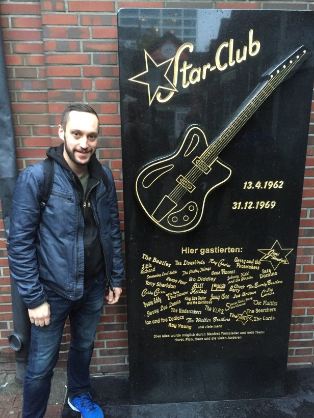 Hamburg: At the courtyard where the Star Club used to be. This is where the Beatles played really early in their career and honed their craft. That's a little piece of music history.