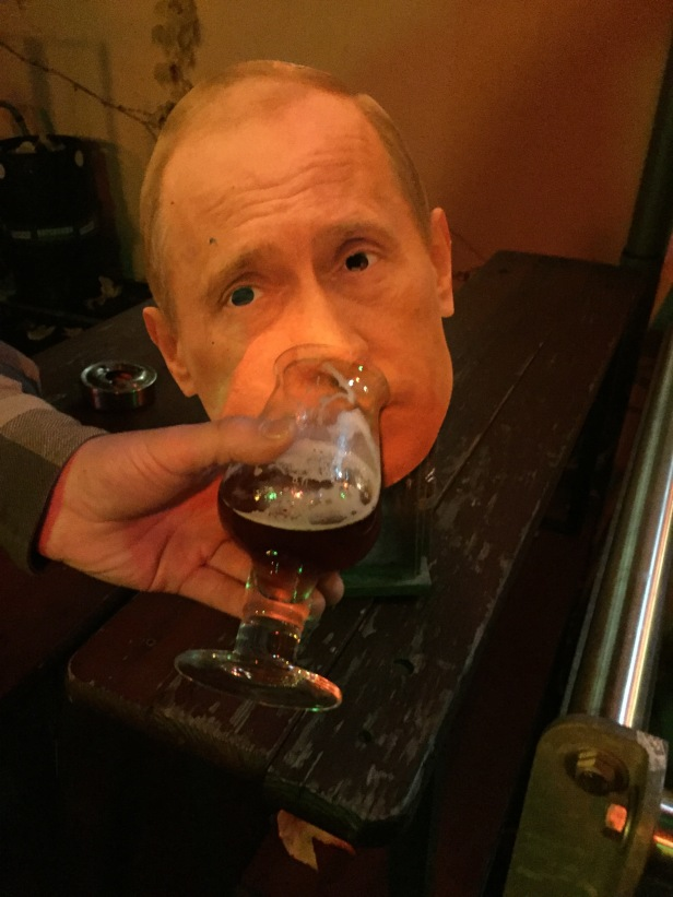 Hamburg: This Vladimir Putin mask was probably left over from Halloween. We decided he needed some beer to help liven him up a little.